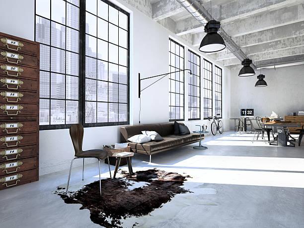 design intérieur moderne de salle de séjour. 3 d Représentation - Photo
