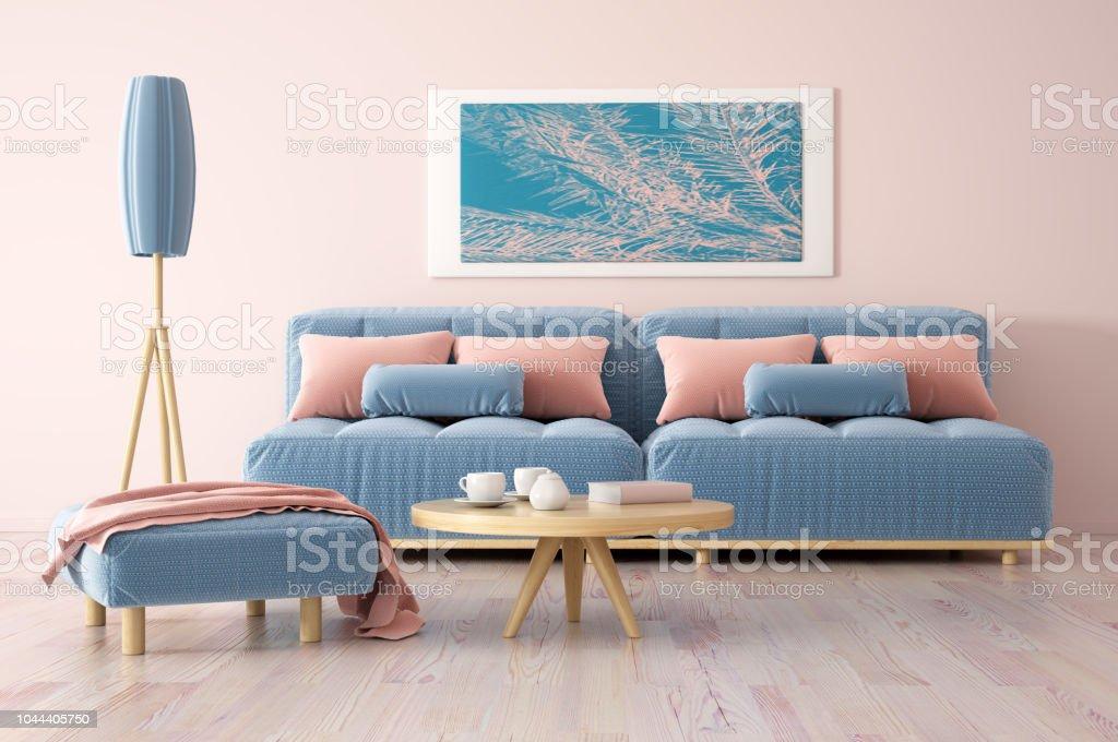Décoration De Salon Moderne Avec Le Rendu 3d De Canapé Photo Libre De Droits