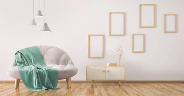 interior design der modernen wohnzimmer mit sofa 3d-rendering - anrichte weiß stock-fotos und bilder
