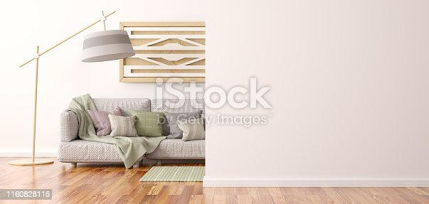 1095381860istockphoto Interior design of modern living room with sofa 3d rendering 1160828115