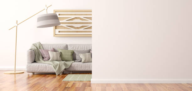 innenarchitektur des modernen wohnzimmers mit sofa 3d rendering - kariertes hintergrundsbild stock-fotos und bilder