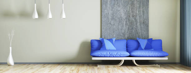 interior design der modernen wohnzimmer mit sofa 3d-rendering - oliven wohnzimmer stock-fotos und bilder