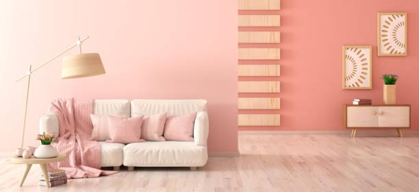 innenarchitektur des modernen wohnzimmers mit sofa, stehlampe und couchtisch mit tulpen, 3d-rendering - kariertes hintergrundsbild stock-fotos und bilder