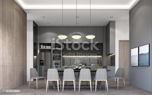 istock Interior design of modern luxury dining area and pantry with dining chair and dining table, grey wall decorate built-in, sunlight at the windows and wooden floor. 3d rendering 1183993664