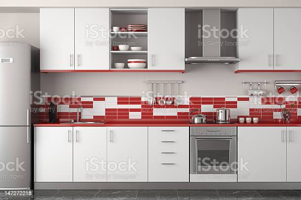 Interior Design Of Modern Red Kitchen Stock Photo Download Image Now Istock