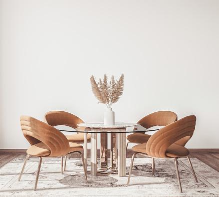 Interior design of modern Scandinavian apartment, dining room in neutral colors, 3D rendering