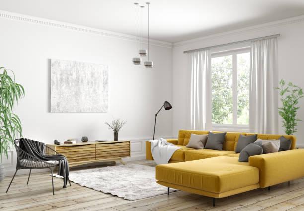 モダンなスカンジナビアのアパート、リビングルーム3dレンダリングのインテリアデザイン - ソファ 無人 ストックフォトと画像