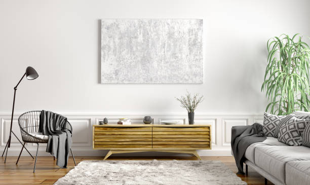 interior design of modern scandinavian apartment, living room 3d rendering - sideboard imagens e fotografias de stock
