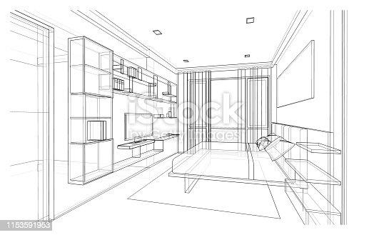 istock Interior design of modern style bedroom 1153591953