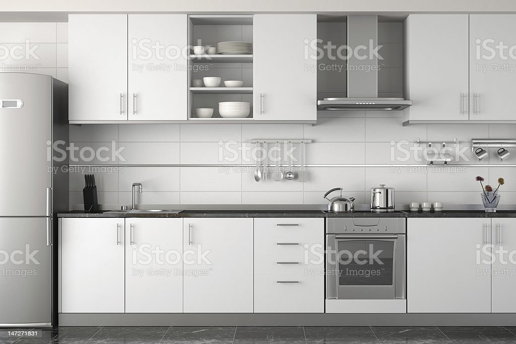 interior design of modern white kitchen stock photo