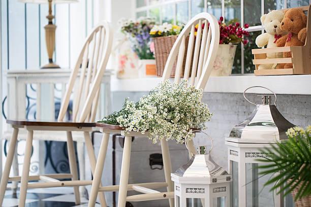 Interior design of room with furniture and flower bildbanksfoto