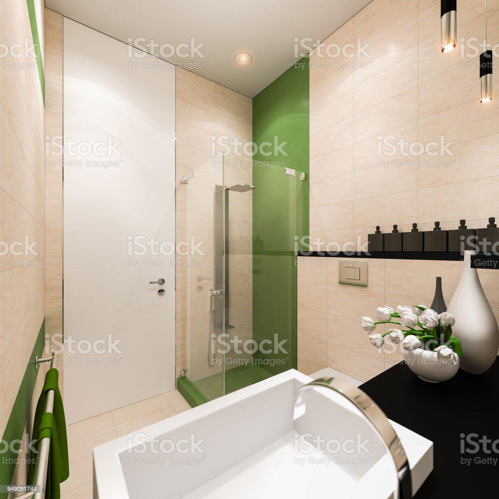 Diseño De Interiores Del Cuarto De Baño En Un Estilo Arquitectónico Moderno  Foto de stock y más banco de imágenes de Antihigiénico