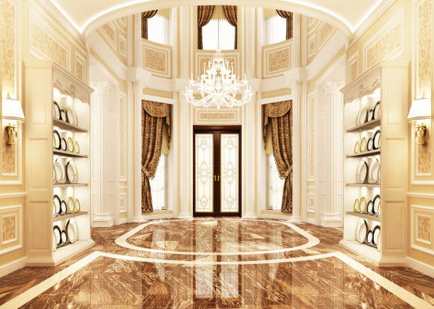 Interior design of the hall in the big house luxury home interior design classical style stock pictures, royalty-free photos & images