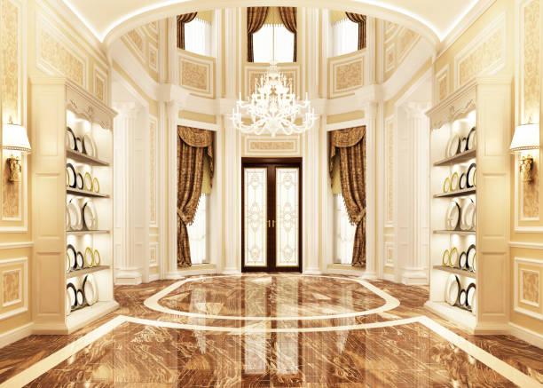 大きな家のホールのインテリアデザイン - 玄関ホール ストックフォトと画像