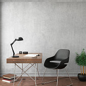 Interior office room scene with empty wall. Office desk with chair, plant, light, decoration. Hipster modern design template. wooden table, chair is black. concrete gray wall. square frame mock up render