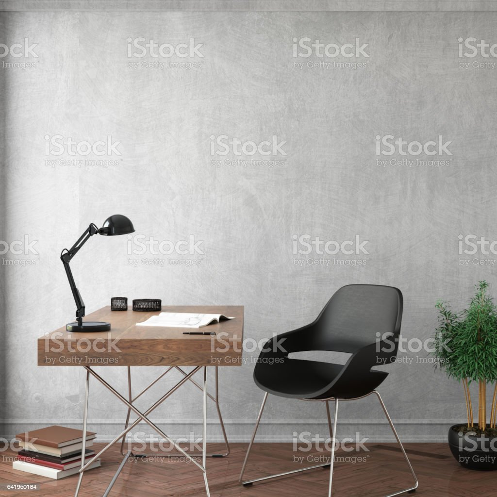 Interior design office with empty wall stock photo