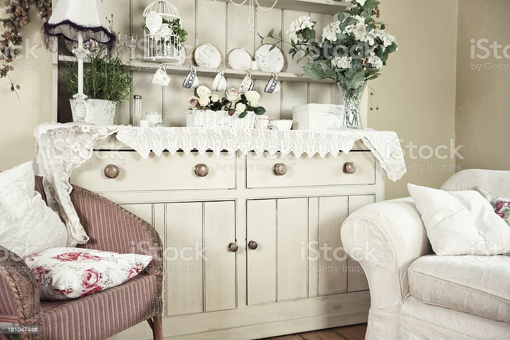 Interior design photo of shabby chic breakfast room stock photo