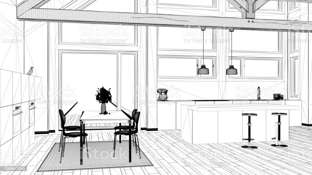 Interior Design Project Black And White Ink Sketch Architecture Blueprint Showing Contemporary Kitchen With Wooden Roof Stock Photo Download Image Now Istock