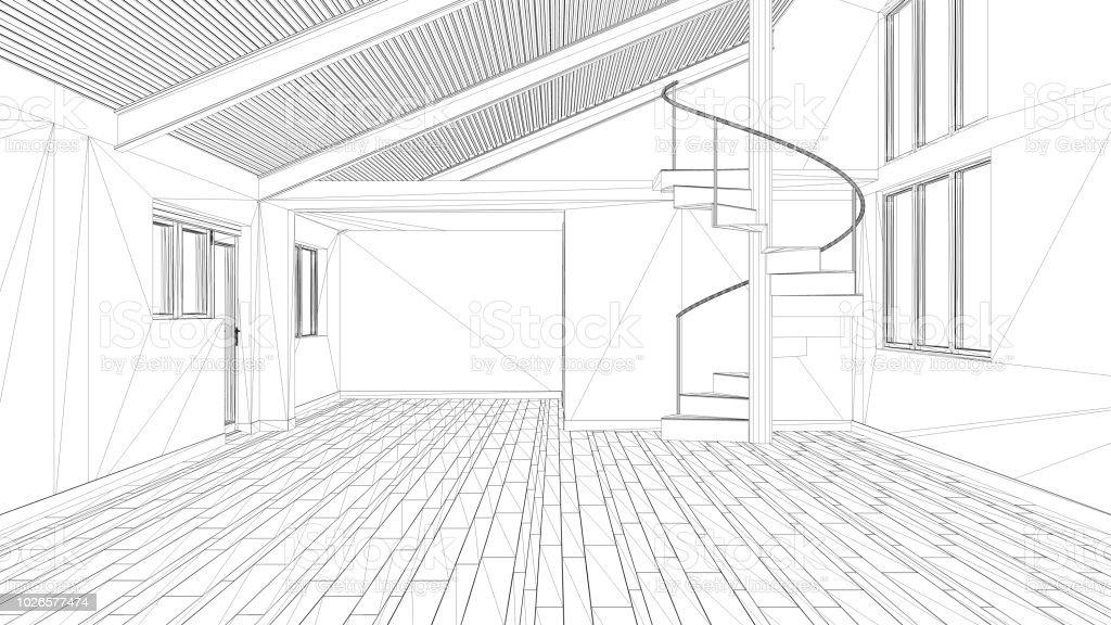 Interior design project, black and white ink sketch, architecture...