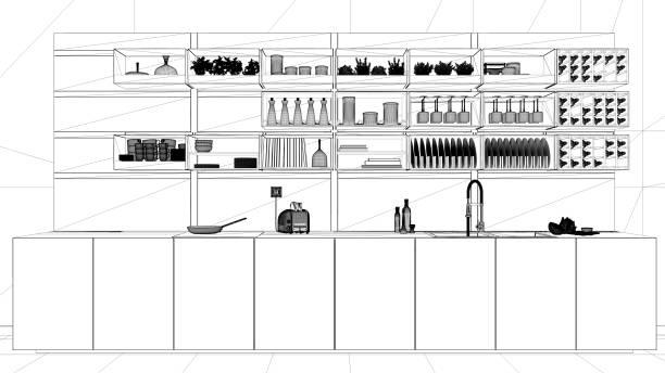 インテリア デザイン プロジェクト、黒と白インク スケッチ、アーキテクチャの青写真を示すミニマル キッチン クローズ アップ、ミニマルなアーキテクチャ ストックフォト