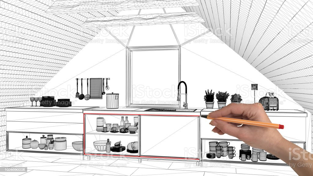 Interior Design Project Concept Hand Drawing Custom Architecture Black And White Ink Sketch Blueprint Showing Mezzanine Attic Kitchen Stock Photo Download Image Now Istock