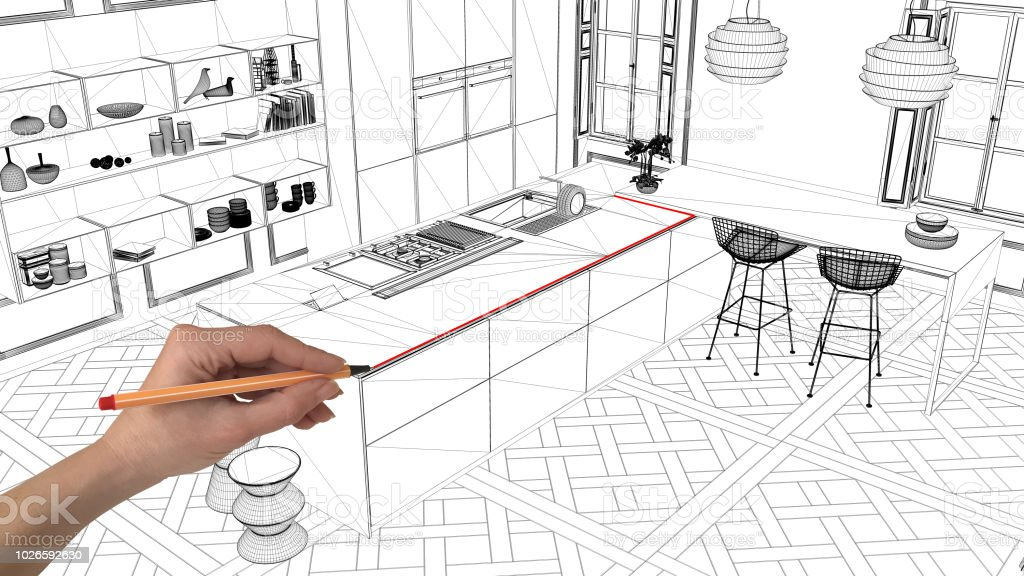 Interior Design Project Concept Hand Drawing Custom Architecture Black And White Ink Sketch Blueprint Showing Modern Kitchen With Island Stock Photo Download Image Now Istock