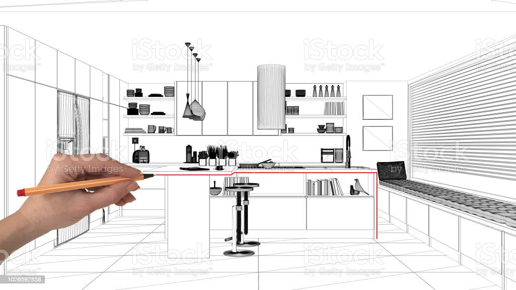 Interior Design Project Concept Hand Drawing Custom Architecture Black And White Ink Sketch Blueprint Showing Modern Kitchen With Island And Stools Stock Photo Download Image Now Istock