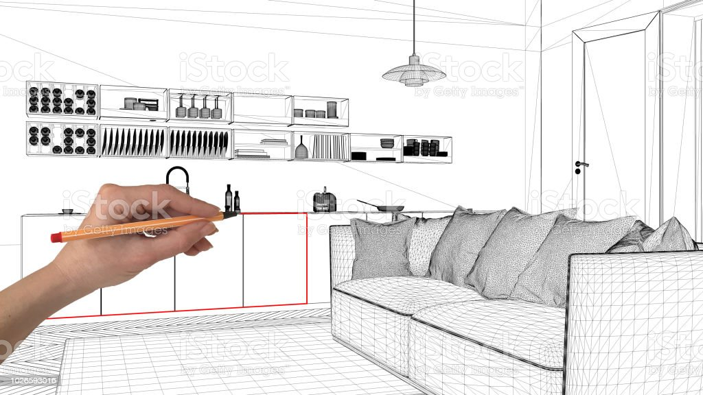 Interior Design Project Concept Hand Drawing Custom Architecture Black And White Ink Sketch Blueprint Showing Modern Living Room With Kitchen Stock Photo Download Image Now Istock