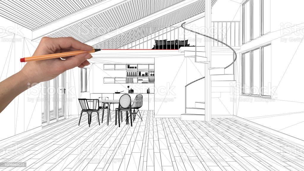Interior Design Project Concept Hand Drawing Custom Architecture Black And White Ink Sketch Blueprint Showing Modern Loft Kitchen Stock Photo Download Image Now Istock