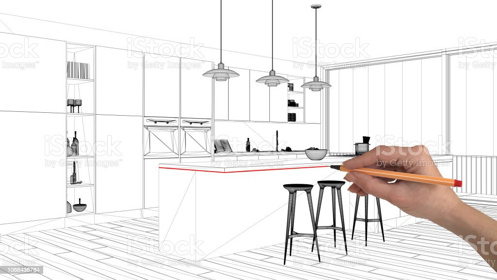 Interior Design Project Concept Hand Drawing Custom Architecture Black And White Ink Sketch Blueprint Showing Minimalistic Kitchen With Island And Pendant Lamps Stock Photo Download Image Now Istock