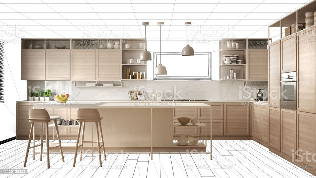 Interior Design Project Draft Work In Progress Concept Idea Real Modern White And Wooden Kitchen In Sketched Background Architect Designer Project Desktop Screenshot Stock Photo Download Image Now Istock