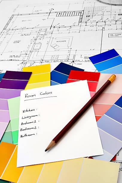interior design-serie 02 - lila, grün, schlafzimmer stock-fotos und bilder