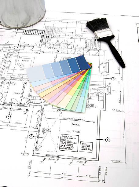interior design-serie 05 - lila, grün, schlafzimmer stock-fotos und bilder