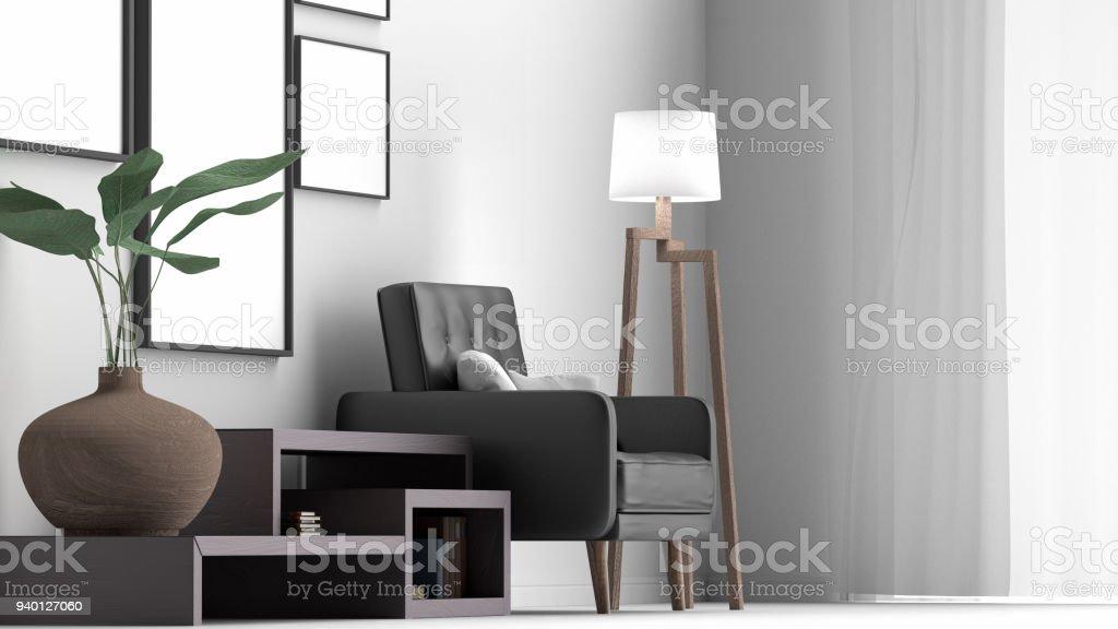 Fotografía de Escena Simple De Diseño De Interiores Con Marcos 3d ...