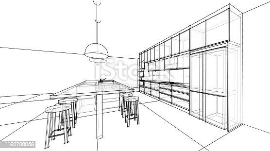istock interior design sketch : modern kitchen 1160700056