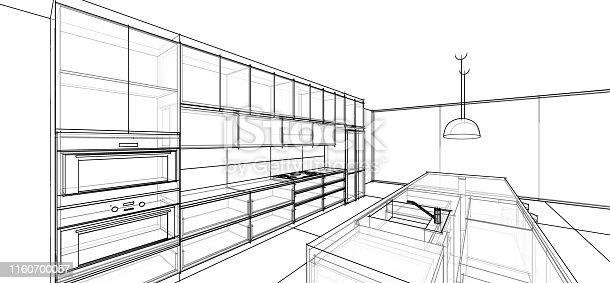 istock interior design sketch : modern kitchen 1160700057