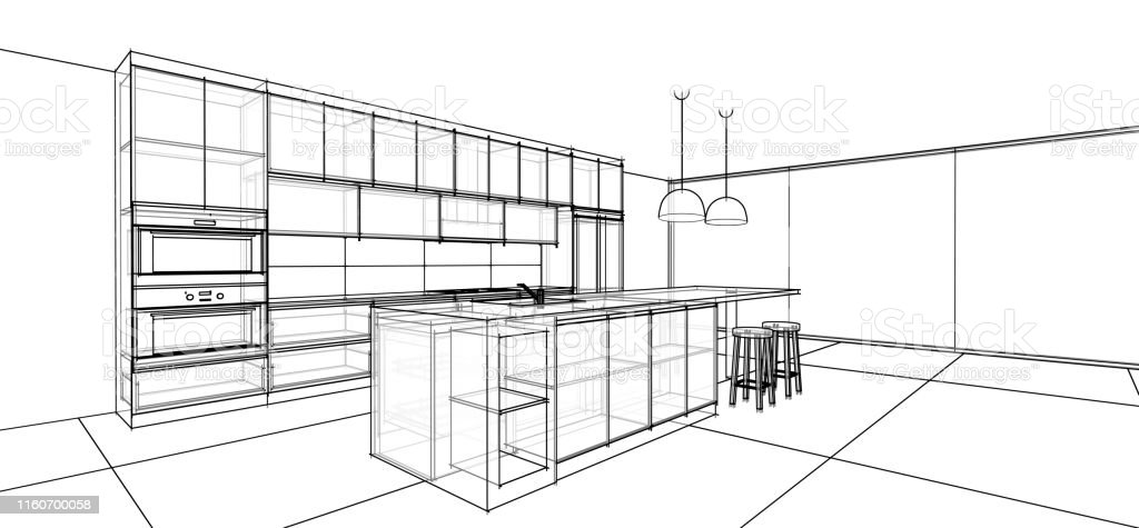 Interior Design Sketch Modern Kitchen Stock Photo Download Image Now Istock