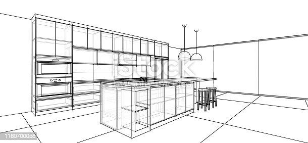 820896232 istock photo interior design sketch : modern kitchen 1160700058