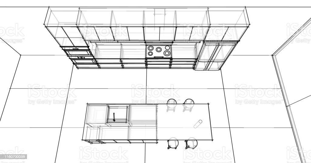 Interior Design Sketch Modern Kitchen Stock Photo Download Image Now Istock