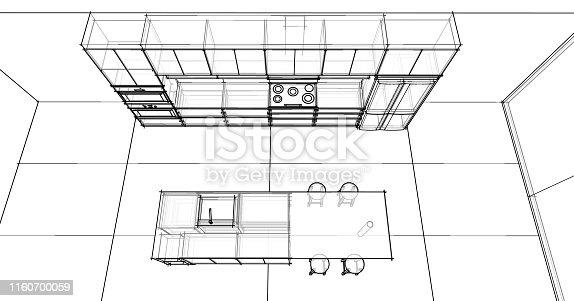 istock interior design sketch : modern kitchen 1160700059