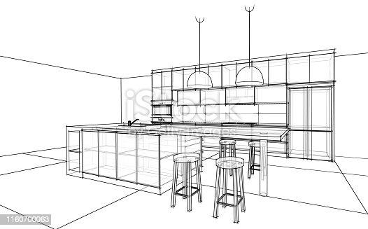 istock interior design sketch : modern kitchen 1160700063