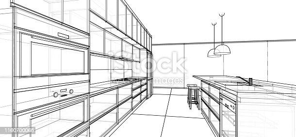 istock interior design sketch : modern kitchen 1160700065