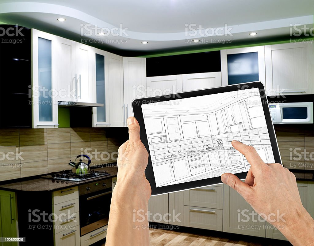 Interior design using digital tablet royalty-free stock photo