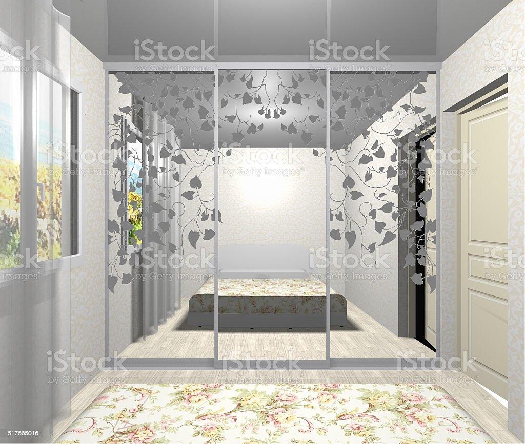 Interni Progettazione Guardaroba Con Specchio Porte Scorrevoli 3d ...