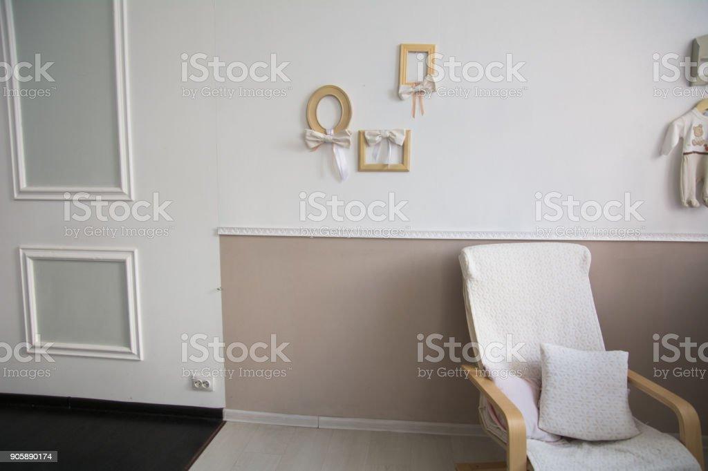 Diseño De Interiores Con Marcos De Sillón Almohada Y Foto - Stock ...