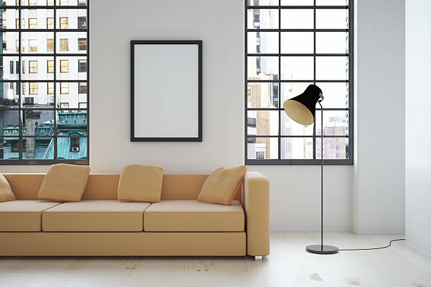 interieur mit leeren frame - bilder poster stock-fotos und bilder