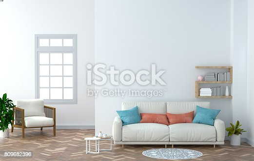 1095381860istockphoto interior design with coffee table and White armchair in the empty room 3D rendering white wall background home. 809682396
