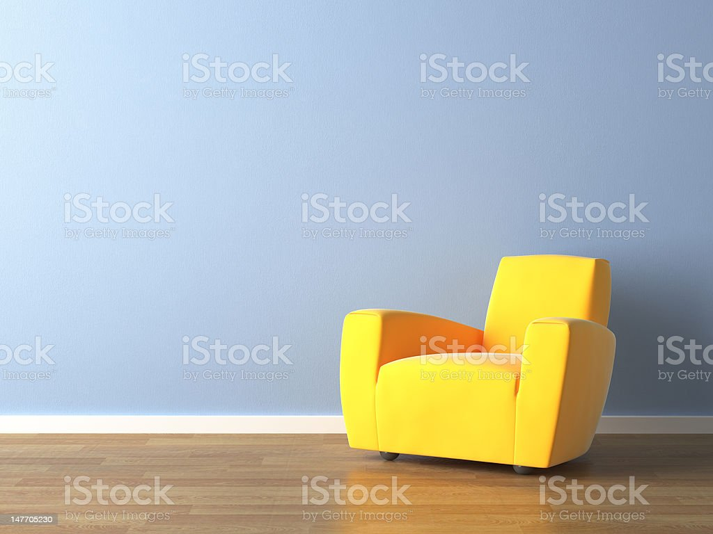 interior design yellow armchair on blue wall royalty-free stock photo