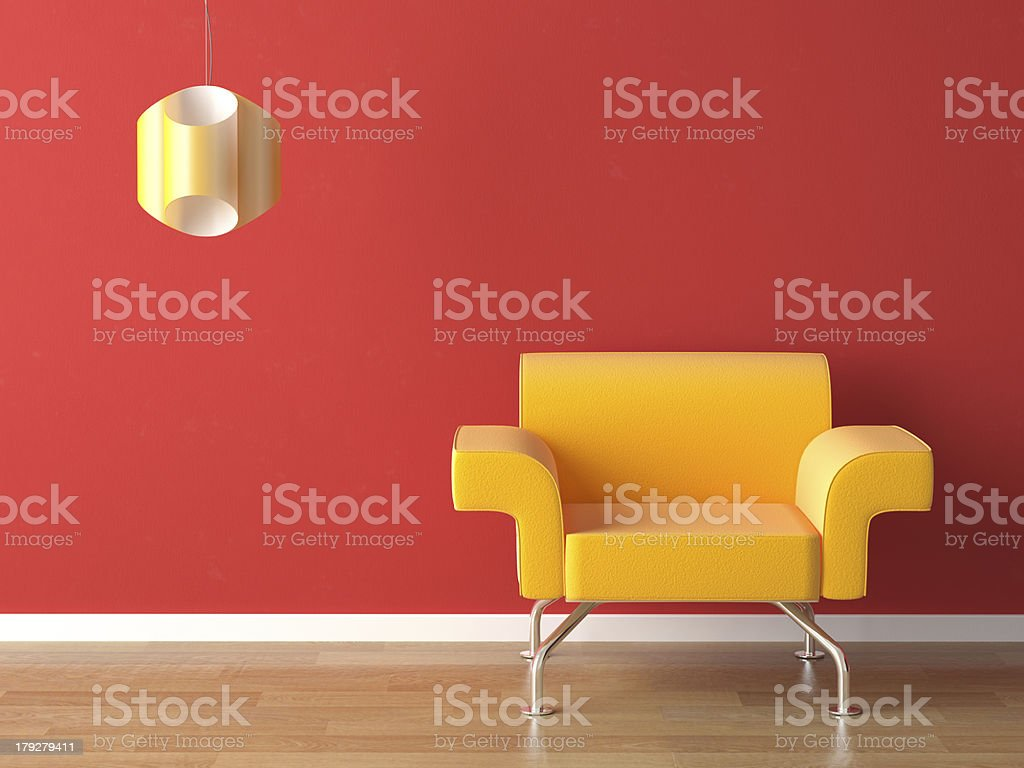 interior design yellow on red stock photo