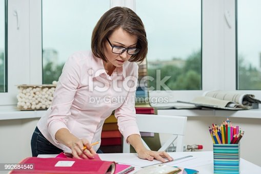 istock Interior designer, at the workplace in the office 992684540